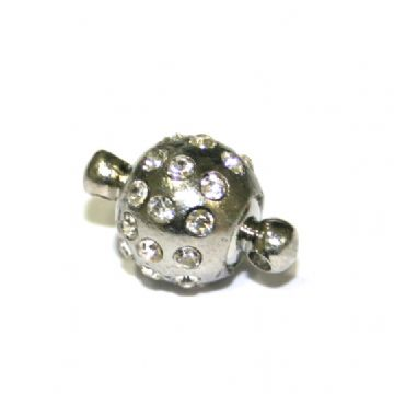 1 x 9mm Round Magnet Clasps Rhodium Plated with Clear Stones - S.FC01